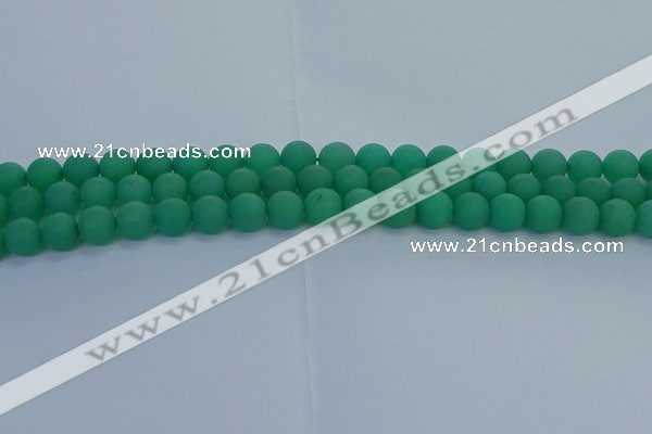 CAJ712 15.5 inches 8mm round matte green aventurine beads