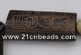 CAL08 14.5 inches 25*52mm carved rectangle agalmatolite beads
