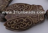 CAL26 14.5 inches 40*60mm carved cicada agalmatolite beads