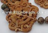CAL33 14.5 inches 60*70mm carved agalmatolite beads