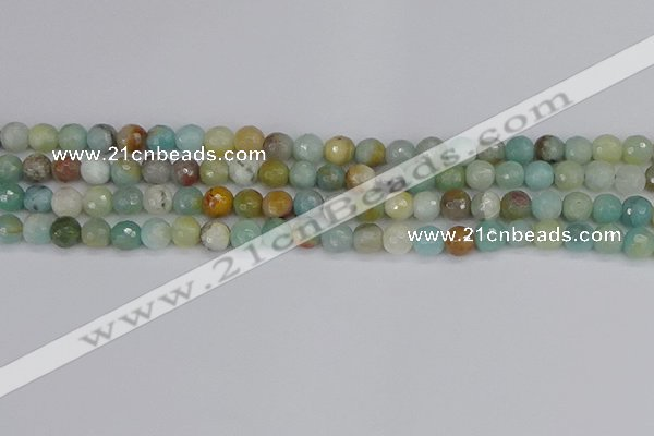 CAM1459 15.5 inches 6mm faceted round amazonite beads wholesale