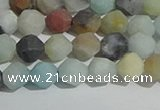 CAM1487 15.5 inches 6mm faceted nuggets matte black amazonite beads
