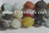 CAM1488 15.5 inches 8mm faceted nuggets matte black amazonite beads