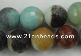CAM168 15.5 inches 20mm faceted round amazonite gemstone beads