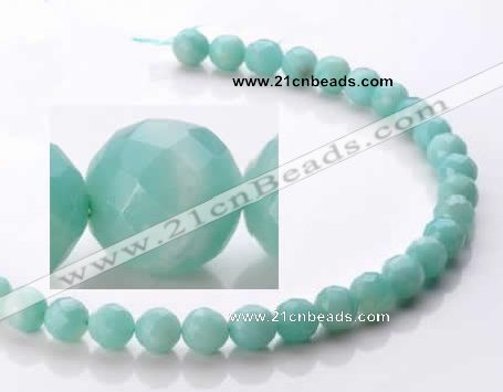 CAM28 10mm natural amazonite faceted round stone beads Wholesale