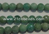 CAM812 15.5 inches 8mm faceted round Brazilian amazonite beads