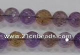 CAN11 15.5 inches 12mm faceted round natural ametrine gemstone beads