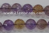 CAN12 15.5 inches 14mm faceted round natural ametrine gemstone beads