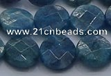 CAP389 15.5 inches 12mm faceted coin apatite gemstone beads