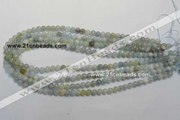 CAQ251 15.5 inches 6mm round aquamarine beads wholesale