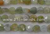 CAQ390 15.5 inches 8*8mm faceted heart natural aquamarine beads