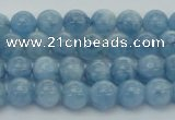 CAQ525 15.5 inches 4mm round AA+ grade natural aquamarine beads