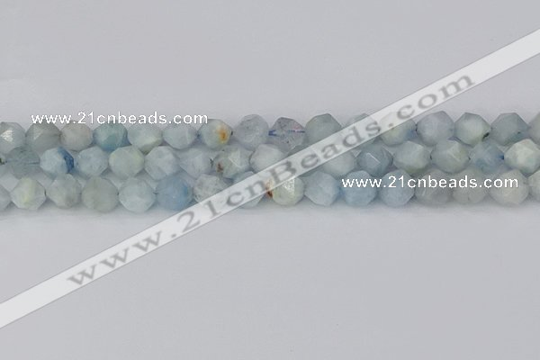 CAQ833 15.5 inches 10mm faceted nuggets aquamarine beads
