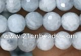 CAQ848 15.5 inches 6mm faceted round aquamarine beads wholesale