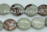 CAR32 15.5 inches 15mm flat round artistic jasper beads wholesale