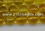 CAR564 15.5 inches 9mm - 10mm round natural amber beads wholesale