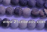 CAR61 15.5 inches 6mm round matte yellow artistic jasper beads