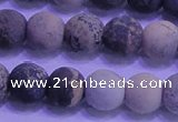 CAR63 15.5 inches 10mm round matte yellow artistic jasper beads