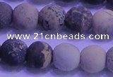 CAR64 15.5 inches 12mm round matte yellow artistic jasper beads