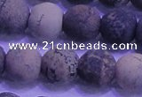 CAR65 15.5 inches 14mm round matte yellow artistic jasper beads
