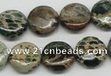 CAT5009 15.5 inches 16mm flat round natural aqua terra jasper beads
