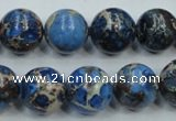 CAT51 15.5 inches 14mm round dyed natural aqua terra jasper beads