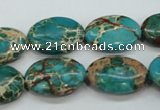 CAT98 15.5 inches 13*18mm oval dyed natural aqua terra jasper beads