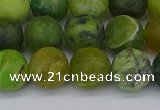 CAU414 15.5 inches 12mm round matte Australia chrysoprase beads