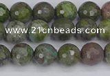 CBG102 15.5 inches 8mm faceted round bronze green gemstone beads