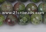 CBG104 15.5 inches 12mm faceted round bronze green gemstone beads