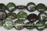 CBG35 15.5 inches 14mm flat round bronze green gemstone beads