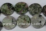 CBG61 15.5 inches 18mm coin bronze green gemstone beads