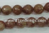 CBQ214 15.5 inches 12mm faceted round strawberry quartz beads