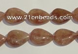 CBQ26 15.5 inches 12*16mm flat teardrop strawberry quartz beads