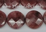 CBQ281 15.5 inches 20mm faceted coin strawberry quartz beads