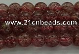 CBQ311 15.5 inches 6mm round natural strawberry quartz beads
