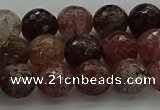 CBQ322 15.5 inches 8mm faceted round strawberry quartz beads
