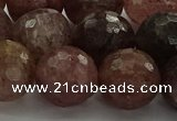 CBQ325 15.5 inches 14mm faceted round strawberry quartz beads
