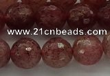 CBQ333 15.5 inches 10mm faceted round strawberry quartz beads