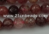 CBQ412 15.5 inches 8mm faceted round strawberry quartz beads