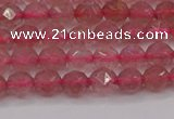 CBQ436 15.5 inches 6mm faceted nuggets strawberry quartz beads