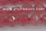 CBQ438 15.5 inches 10mm faceted nuggets strawberry quartz beads