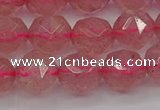 CBQ439 15.5 inches 12mm faceted nuggets strawberry quartz beads