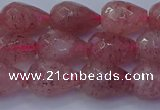 CBQ453 15.5 inches 10*14mm faceted teardrop strawberry quartz beads