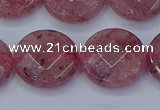 CBQ462 15.5 inches 16mm faceted coin strawberry quartz beads