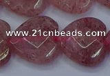 CBQ472 15.5 inches 18mm faceted heart strawberry quartz beads