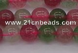 CBQ658 15.5 inches 10mm round mixed strawberry quartz beads