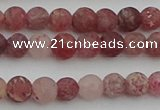CBQ660 15.5 inches 6mm round matte strawberry quartz beads
