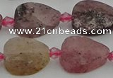 CBQ669 15.5 inches 10*15mm flat teardrop matte strawberry quartz beads