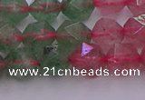 CBQ682 15.5 inches 8mm faceted nuggets mixed strawberry quartz beads